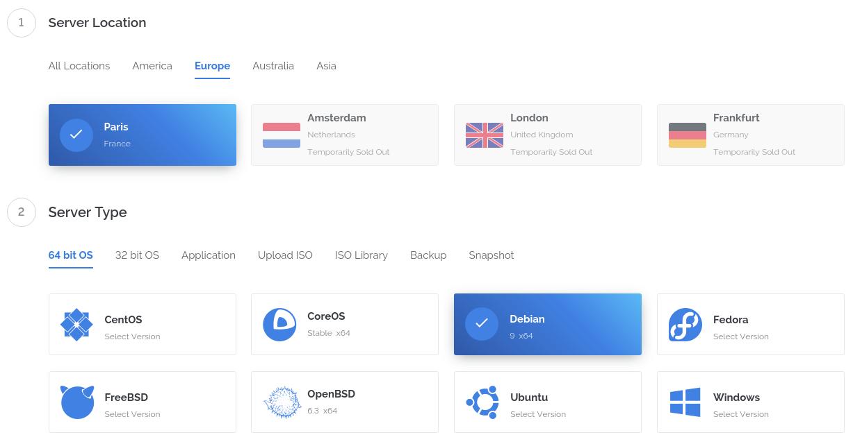 Выбор локации и операционной системы для VС2 у провайдера Vultr