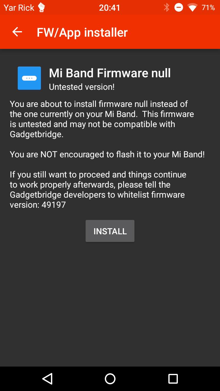 Скриншот экрана с предупреждением о возможных проблемах при прошивке непротестированной версии