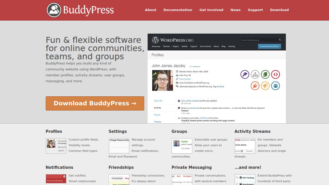 Скриншот сайта BuddyPress
