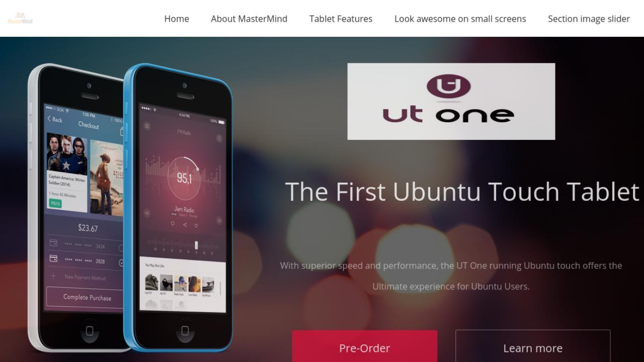 Скриншот страницы предзаказа  планшета UT One на сайте Mastermind